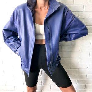 Vintage blue leather batwing bomber jacket M